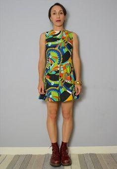 High+Waisted+70's+Multi+Colour+Mini+Dress+S-M+6-10+36