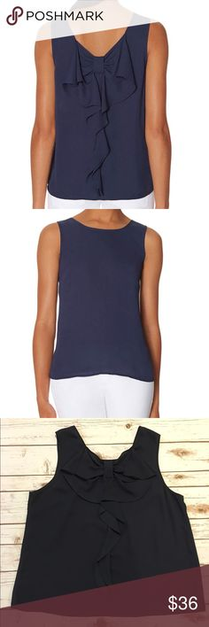 """The Limited Bow Back Sleeveless Top Gently Worn. Beautiful back bow detail. Pit to pit 21"""". Length 25"""". Made of polyester. Reasonable offers considered through offer button only. NO TRADES The Limited Tops Blouses"""