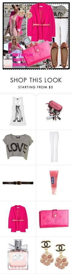 """""""love in pink!!!"""" by micaelatamara ❤ liked on Polyvore featuring G by Guess, Illustrated People, Balmain, CO-OP Barneys New York, Nivea, Preen, Louis Vuitton, Christian Dior, Chanel and H&M"""