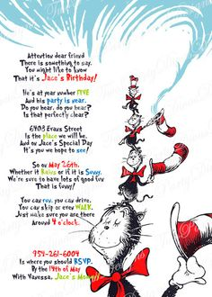 Printable Personalized Cat in the Hat Birthday Party Invitation Image File on Etsy, $9.98