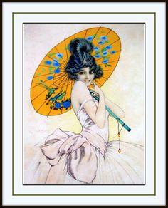 "PRINT by GASPAR CAMPS Art Deco FASHION ART NOUVEAU MUCHA ERA ""UMBRELLA"""