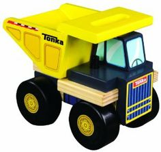 This wooden Tonka Mighty Dump Truck is big, durable and ready to move some soil (or perhaps some blocks in the case of indoor play).  Tonka Tuff!