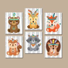 TRIBAL Animals Wall Art, Tribal Animals Nursery Decor, CANVAS or Print, WOODLAND Animal Decor, Wood Forest Animals, Gender Neutral Set of 6  This woodland collection encourages your little one to seek adventure while adding a playful, decorative touch to the nursery. It will add fun to any