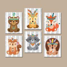 Tribal animals wall art tribal animals nursery decor screen or print Forest Animals, Woodland Animals, Woodland Animal Nursery, Neutral Wall Colors, Kids Canvas Art, Tribal Animals, Animal Decor, Wood Wall Art, Wood Walls