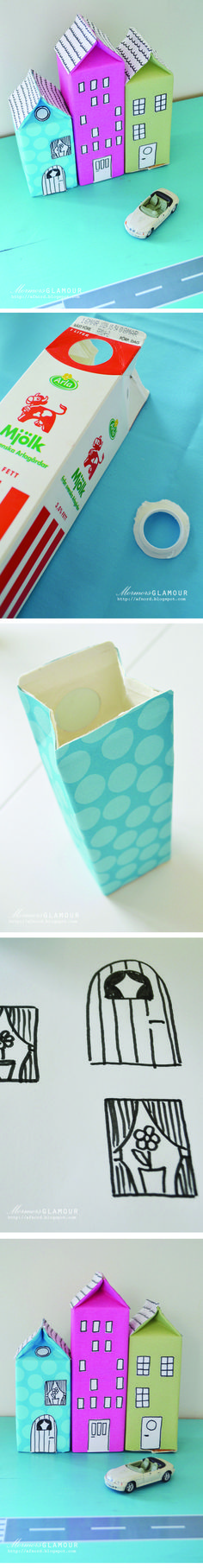 Upcycle your milkboxes - cute idea for Earth Day, Recycling and city life. Recommended by Charlotte's Clips