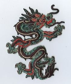 Iron On Embroidered Applique Patch Chinese Large Green and Red Dragon