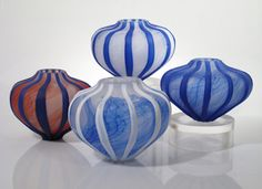 Blue Etched Sea Urchin Vessels by Melanie & David Leppla. American Made. See the designer's work at the 2016 American Made Show, Washington DC. January 15-17, 2016. americanmadeshow.com #americanmade, #americanmadeshow, #artglass, #glass, #vessel