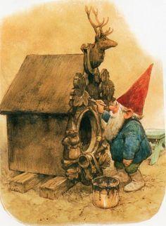 Art Print by Rien Poortvliet Gnome elf David by CuteEyeCatchers Norman Rockwell, Rockwell Kent, Woodland Creatures, Magical Creatures, Fantasy Kunst, Fantasy Art, Kobold, Elves And Fairies, Theme Noel