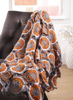Orange and gray afghan