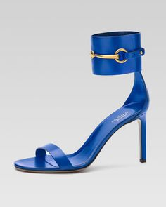 Horsebit Patent Ankle-Wrap Sandal, Cobalt by Gucci at Neiman Marcus.