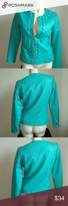 Peck & Peck embellished women size  fits 6-8 Like brand new Beautifully embellished jacket. Zippers @ the back of  sleeve, covered buttons all around. Such a unique color Peck & Peck Jackets & Coats Blazers