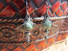 Teal Russian Jade beaded Earrings with Grey by NaturesRandMDesign