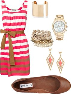summer, created by rpelton00 on Polyvore- minus the earrings, bracelet, ring and watch
