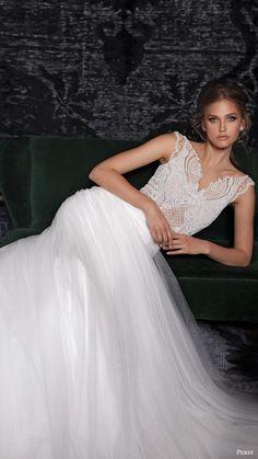 persy bridal fall 2016 cap sleeves vneck wedding dress embellished bodice (14)…