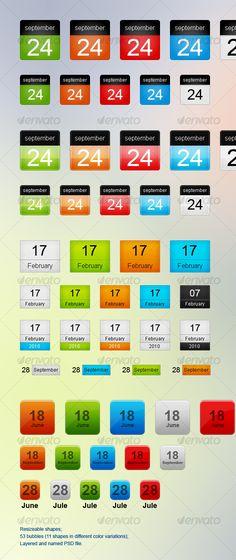 Blog Date Bubbles, Web Icon Calendar - GraphicRiver Item for Sale