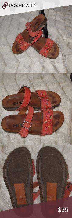Women's Birk Style Sandal Orange Embroidery Art Bye Bye Bad Luck Women's Birkenstock Style Sandal Burnt Orange / Coral Color Embroidery  Size 40. Some wear but all and all in good condition. Shoes Sandals