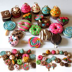 20 pcs polymer clay charms - Sweets theme. £15.00, via Etsy.