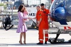 Catherine Duchess of Cambridge and Princess Charlotte of Cambridge visit two airbus helicopters during an official visit to Poland and Germany on...