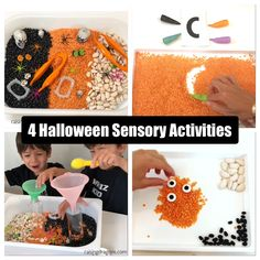 These simple sensory activities can all be done using the same basic materials (large lima beans, red lentils and black beans) and theyre perfect for Halloween! #sensory #preschool #halloween Halloween Games For Kids, Halloween Activities, Preschool Halloween, Halloween Halloween, Halloween Juegos, Educational Activities For Toddlers, Sensory Activities, Preschool Activities, Educational Toys