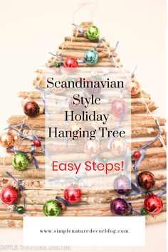 If you love the Nordic look for the holidays than you will love making this pretty Scandinavian holiday hanging tree. #nordic #christmastree #christmasideas #scandiideas Scandinavian Holidays, Scandinavian Style Home, Scandi Style, Diy Christmas Tree, Holiday Tree, Twig Tree, Diy Hanging, Holiday Decorations, Pretty