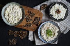 Tři druhy pomazánek se semínkovými krekry   jsemlowcarb.cz Krabi, Hummus, Grains, Low Carb, Rice, Keto, Ethnic Recipes, Food, Essen