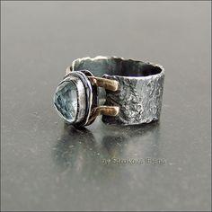 Купить Кольцо с аквамарином - светло-голубой, кольцо, перстень, фактура, патина, аквамарин, кольцо с аквамарином