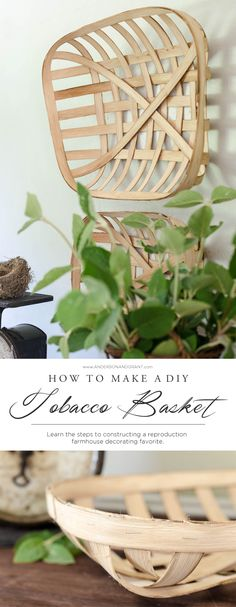 Don't spend a lot of money looking in antique shops, when creating your very own farmhouse style take a look at this DIY Tobacco Basket. More DIY Fixer Upper Farmhouse Style Ideas on Frugal Coupon Living. Diy Projects To Try, Crafts To Make, Craft Projects, Diy Crafts, Craft Tutorials, Wood Projects, Diy Generator, Homemade Generator, Fixer Upper