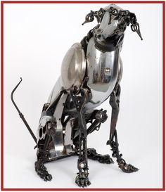 Steampunk Dog made from old car parts Animal Sculptures, Sculpture Art, Statues, Car Part Art, Steampunk Animals, Arte Steampunk, Scrap Car, Old Car Parts, Scrap Metal Art