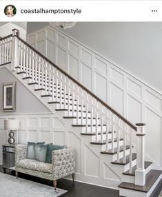 Home remodeling, staircase wall decor, stair walls, staircase makeover, wai Staircase Wall Decor, Stair Walls, Staircase Remodel, Staircase Makeover, Staircase Design, Wainscoting Stairs, Staircase Diy, Stair Railing, Staircases