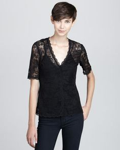 Shop contemporary fashion trends at Neiman Marcus. Pick out the future of fashion with this organized trend selection filled with designer apparel. Lace Jacket, Stretch Lace, Neiman Marcus, Stretches, Anna, V Neck, T Shirts For Women, Jackets, Shopping