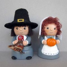Thanksgiving Pilgrim Couple Flowerpot Bell by sanquicreations, $19.99