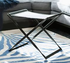 Edmond X Base Leather Stool #potterybarn - Liked @ Homescapes Home Staging www.homescapes-sd.com #contemporarydecor #leatherstool
