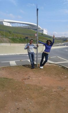 Leo e Cassia, depois do jogo, no Itaquerão - Corinthians...