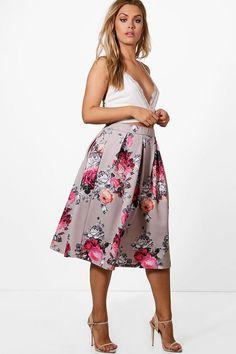 a01b09e3adb boohoo Plus Eva Floral Print Scuba Midi Skirt Afflink