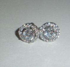 AAA+ Swiss Cubic Zirconia Earrings w/ Round Halos 925 Sterling Silver #Stud