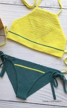 Crochet Bikini Pattern, Swimsuit Pattern, Crochet Shorts, Crochet Crop Top, Crochet Blouse, Love Crochet, Diy Crochet, Crochet Crafts, Crochet Clothes