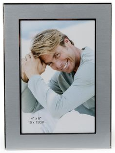4 x 6 Picture Frame for Tabletop or Wall, Square Edges, Aluminum - Silver