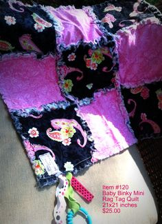 Paisley Girls baby Pink Tag Binky 100% Cotton Rag Quilt Blanket