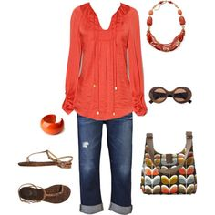 A fashion look from March 2012 featuring tie blouse, blue capri and leopard sandals. Browse and shop related looks. Casual Outfits, Cute Outfits, Fashion Outfits, Womens Fashion, Sommer In Orange, Spring Summer Fashion, Spring Outfits, Looks Plus Size, New Wardrobe