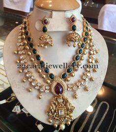 Jewellery Designs: 3 Rows Kundan Luxurious Bridal Set