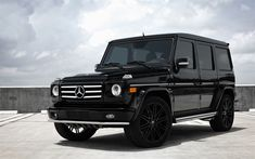 Download wallpapers Mercedes-Benz G55, AMG, black SUV, tuning G55, black wheels, low-profile tires, Mercedes