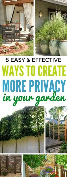8 Easy And Effective Ways To Tighten Up The Privacy In Your Yard - Learn to create more privacy in your yard just by following these techniques. Great garden projects for the weekend!