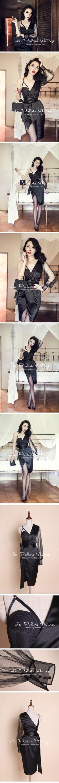 le palais vintage性感黑綢緞單肩胸衣包裹不規則紗袖連衣裙0.2-淘寶台灣,萬能的淘寶