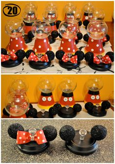 One of the cutest projects I did for my daughter's birthday party was the Mickey & Minnie Gumball Machines. I received so many compliments from this project and it was pretty easy to… Mickey Party, Festa Mickey Baby, Mickey Mouse Clubhouse Birthday, Mickey Y Minnie, Mickey Mouse Parties, Mickey Mouse Birthday, 2nd Birthday, Birthday Ideas, Disney Parties