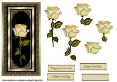Lemon single rose card front on Craftsuprint designed by Angela Wake - A DL card front with step by step, will fit a number of occasions, anniversary, birthday, thank you - Now available for download!