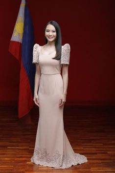 PRE-ORDER Filipiniana Two-Layer Modern Filipiniana Gown, Filipiniana Wedding, Wedding Gowns, Brown Bridesmaid Dresses, Grad Dresses, Long Dresses, Bridesmaids, Philippines Dress, Filipino Fashion