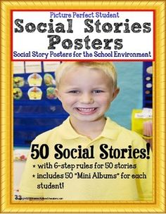 Autism: WOW! 50 Picture Perfect Student Social Stories Posters PLUS mini books for the School Environment!  Here are 50 (actually 51!) school related social stories to help students with autism cope with situations and events that may be stressful for them.