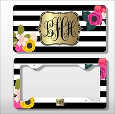 Monogram License Plate with Matching Key Chain - Personalized License - Licence Tag - Custom Frame - Car Tag - Vanity License Plate flowers