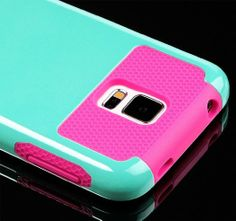 myLife (TM) Smooth Teal Blue and Hot Pink - Free Flex Series (2 Layer Neo Hybrid) Slim Armor Case for the NEW Galaxy S5 (5G) Smartphone by S...