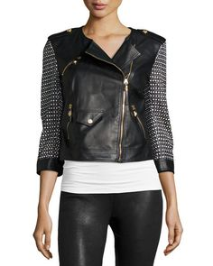 Versace leather moto jacket with knit sleeves and back.  Jewel neckline…